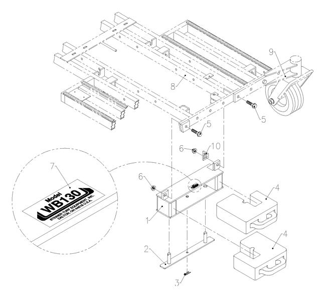75 02072 27hp Kawasaki W61 Deck Weight Bar Kit Wb130